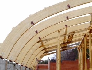 Spruce-Pine (S-P) Curved glulam beams 90 mm x 90 mm x 12 m