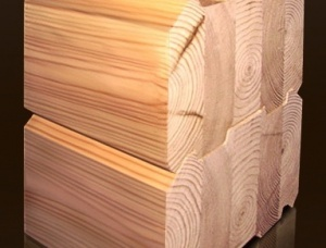 Glue laminated beam (profiled) Pine 204 mm x 185 mm x 12 m