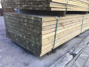 Planed rounded impregnated Pine 90 mm x 90 mm x 3.6 m
