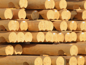 Swiss pine Rounded beam 180 mm x 18 m