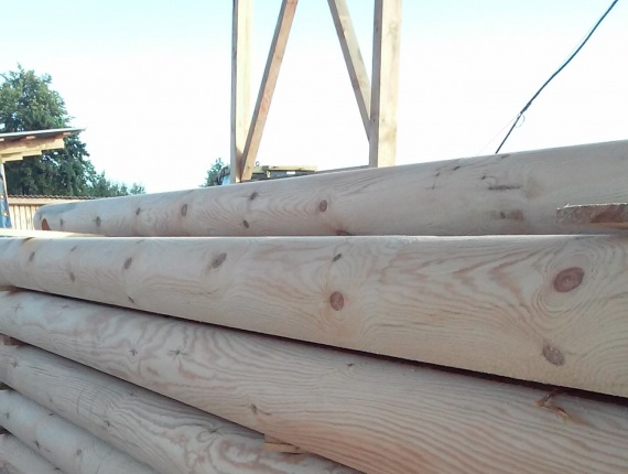 Scots Pine Rounded beam 32 mm x 7.15 m
